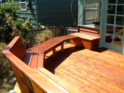 Cedar bench and storage space