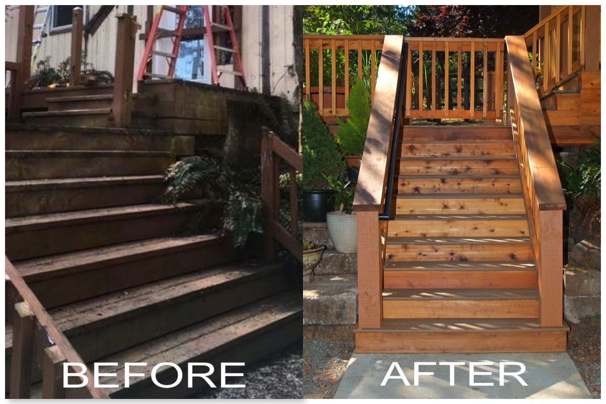 Before and After New Stairs for Deck